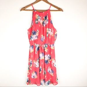 LUSH Watercolor Floral Coral Dress Size Small